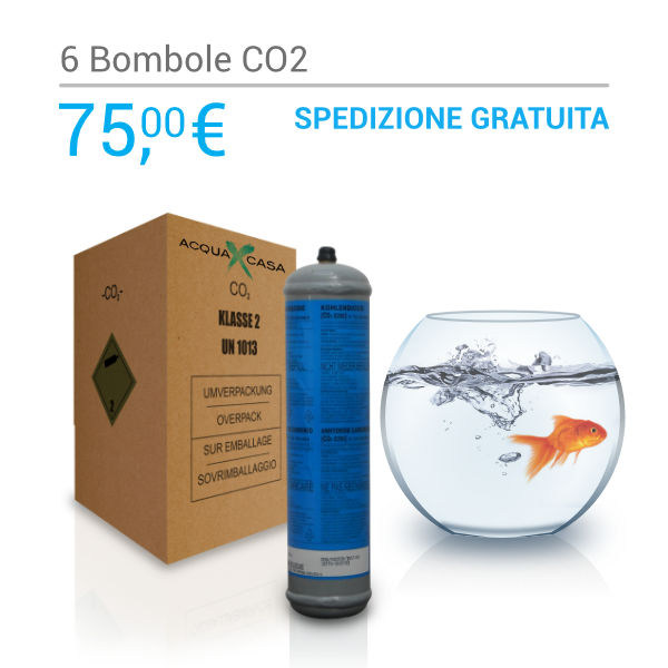 Scatola 6 bombole Co2 per acquari